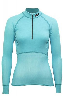Dámský rolák BRYNJE CLASSIC WOOL THERMO LIGHT ZIP-POLO aqua  M