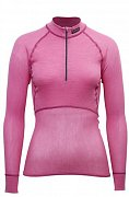 Dámský rolák BRYNJE CLASSIC WOOL THERMO LIGHT ZIP-POLO pink