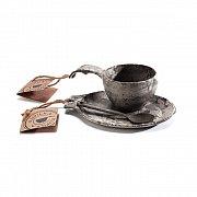 Dárkový set KUPILKA KUKSA + talířek + lžička černá