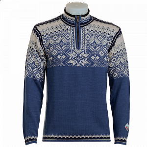 Tradiční norský svetr NORLENDER NARVIK modrý - 1